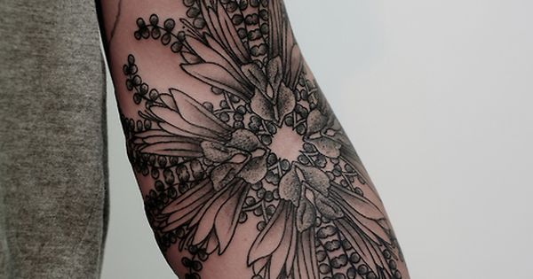 Flower on elbow crease by Victor J Webster from Two Hands Tattoo