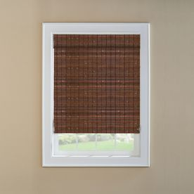 Custom Size Now By Levolor Cinnamon Light Filtering Woven Wood Natural Roman Shade Common 36 In Actual 35 Woven Wood Roman Shades Roman Shades Shades Blinds