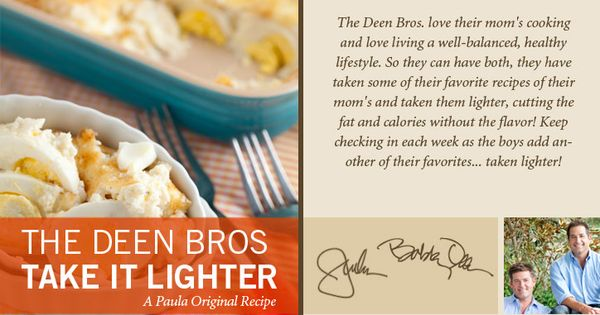 The Deen Bros. Lighter Cheesy Bacon and Egg Casserole