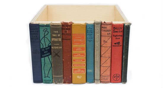 Hiding Clutter Behind Book Spines : Modern Library Storage Bin Doityourself -