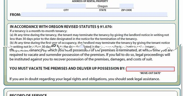 30 Day Eviction Notice Form Elegant Oregon Notice To Vacate