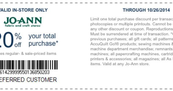 Joann Fabrics Printable Coupon 20 Off Your Total Purchase