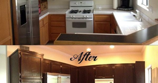 How to gel stain your kitchen cabinets when my husband and for Can i stain my kitchen cabinets darker