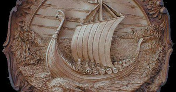 Viking ship relief carving wood working