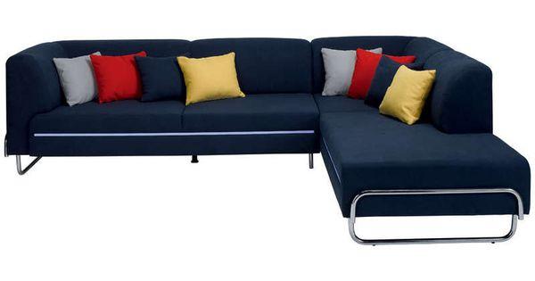 Canap d 39 angle droit 4 places light coloris bleu coussins - Soldes canapes conforama ...