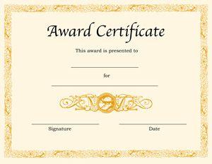 Award Certificate Template Award Certificates Awards