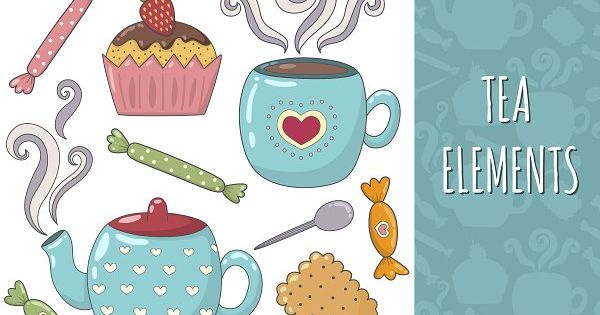 Tea time collection with seamless pattern and clipart. Pretty textures great for fabric and textile, wallpapers, backgrounds, cards and banner design