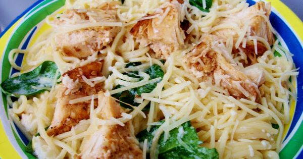 lemon chicken with spinach and angel hair pasta. easy healthy meal