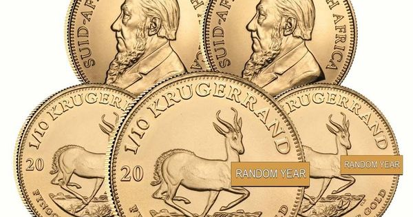 Lot Of 5 1 10 Oz South African Krugerrand Gold Coin Random Year Gold Coins Coins Gold Krugerrand
