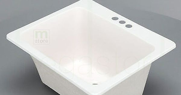 Utility Sink Stain Resistant Laundry Tub Room Basin Bowl 3 Hole