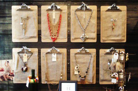 Clipboards are simple to hang and easy to change for jewelry displays.