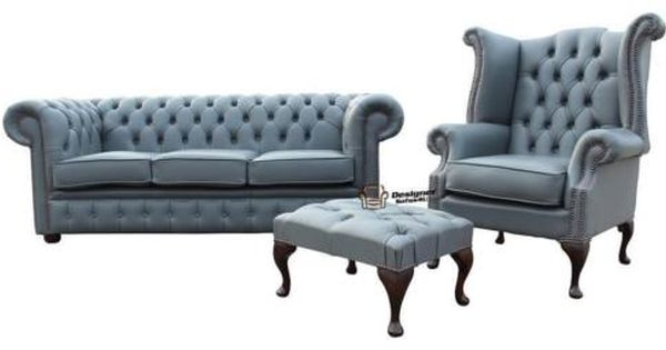 Details About Chesterfield 3 Seater Wing Chair Footstool Moon Mist Grey Leather Sofa Suite Grey Leather Sofa Best Leather Sofa Sofa Deals