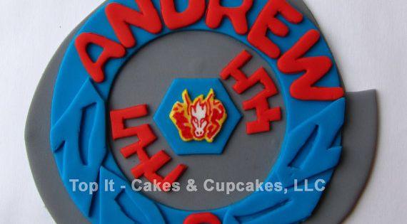 Fondant cake topper pegasus beyblade fondant cake for Anime beyblade cake topper decoration set