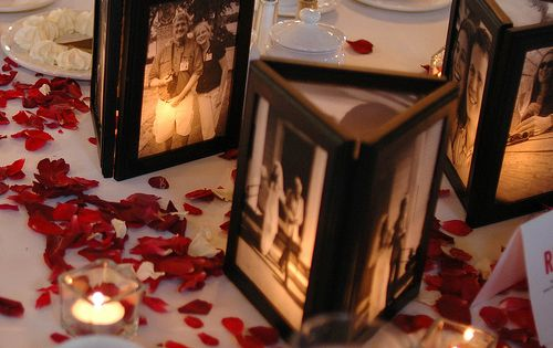 Picture frames glued together with no back and a flameless candle behind...illuminates