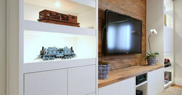 Le meuble t l en 50 photos des id es inspirantes salons tvs and living - Etagere murale sous tele ...