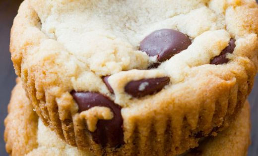Soft-Baked Chocolate Chip Cookie Cups recipe dessert