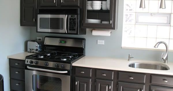 Painting builder grade oak cabinets what i did gray - Builder grade oak kitchen cabinets ...