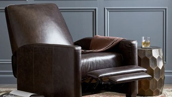 Barkley Square Arm Leather Recliner Pottery Barn In 2020 Leather Recliner Recliner Livingroom Layout