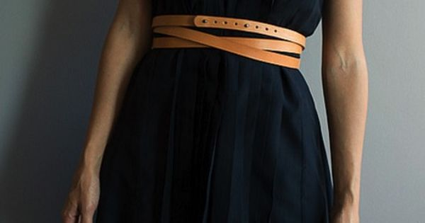 Navy dress, brown belt