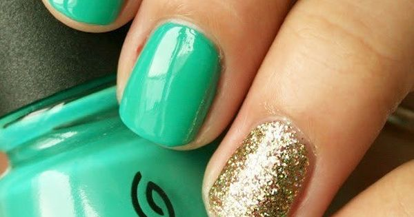 Turquoise and gold nails by China Glaze.