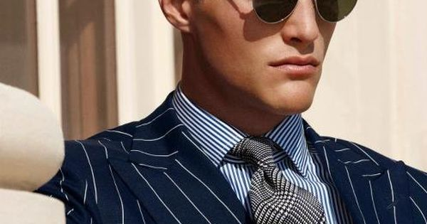 Pattern mix: Peak lapel striped jacket, glen plaid necktie, striped dress shirt,