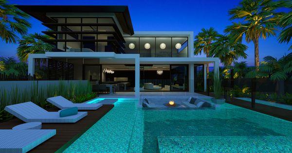 New duplex in melbourne modern tropical living lighting for Pool lights melbourne