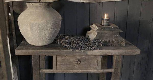 Stoer oud sidetable muurtafel oud hout mooie dingen voor in huis pinterest oud hout hout - Deco eetkamer oud ...