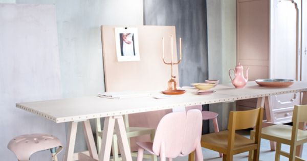 dramatic purple dining room designs in pastels | Dining room with pastels and copper lamp #pink #purple # ...