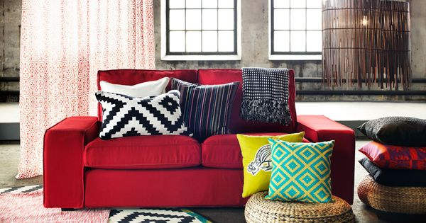 Red Kivik Sofa And Cushions With Bold Colours And Patterns
