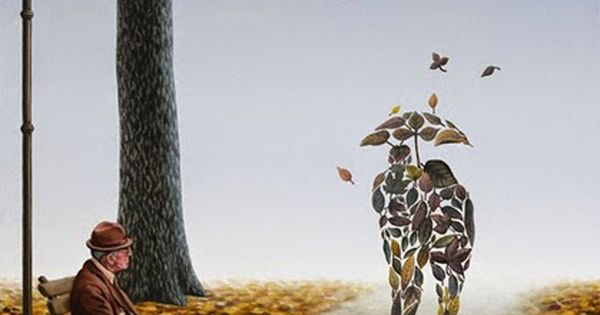 Melancholy in fall by mihai criste la surreal paintings for Audrey hepburn mural los angeles