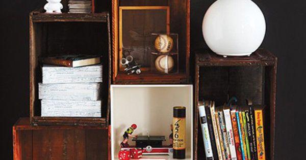 crate shelves ideen rund ums haus pinterest kisten regale aus kisten und schachteln. Black Bedroom Furniture Sets. Home Design Ideas