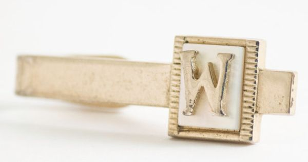 Vintage Tie Clip:  Letter W Initial Tie Bar on by CuffsandClips