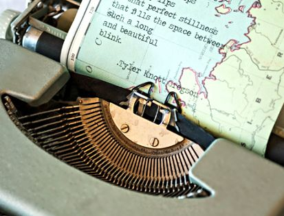 Love the idea of typing poetry and an old map. -- could