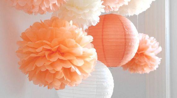 Fall in Love - 6 Tissue Paper Pom Poms plus 2 Paper