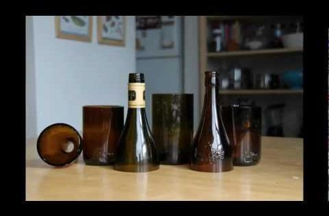 How to make drinking glasses out of empty beer or wine for Glasses made out of bottles