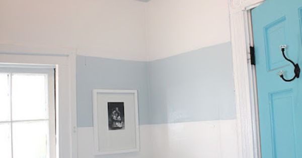 "The wall stripes in the Laundry Room are Benjamin Moore's - ""Mountain"