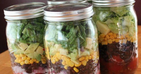Mason Jar Salad Recipe Chopped Black Bean and Corn healthy salad masonjar