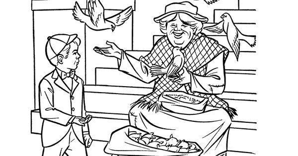 Mary Poppins Dibujos Para Colorear: Mary Poppins - Feed The Birds