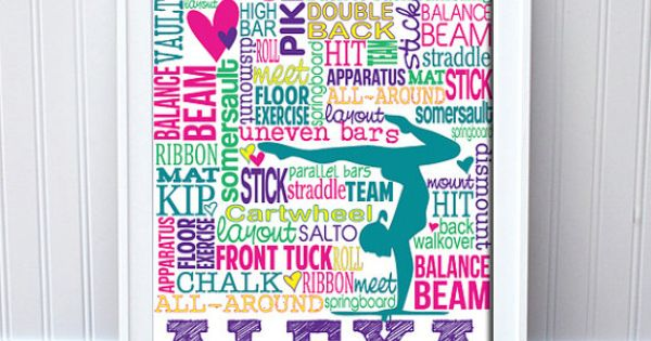TODAY ONLY! Gymnastics Print Personalized Gymnastics Typography by PrintChicks, $35.00