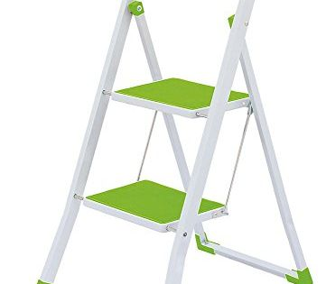2 Steps Folding Lightweight Ladder Stool For Home Office Use Green White 2 Wide Steps With Gripped Treads To P Folding Step Stool Step Stool Step Ladders