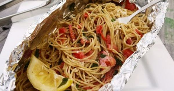 Grilled Pasta Packets (Great for camping) - this would be an awesome