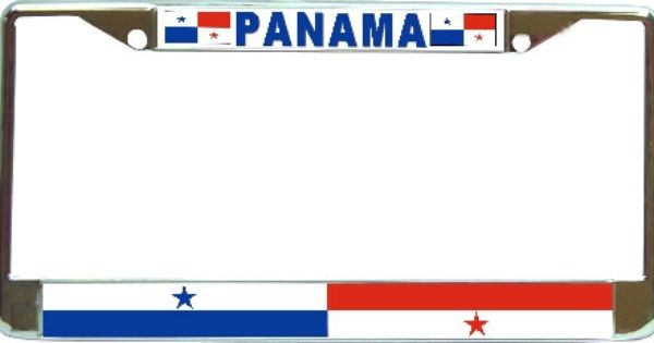 panama flag metal license plate frame holder chrome by