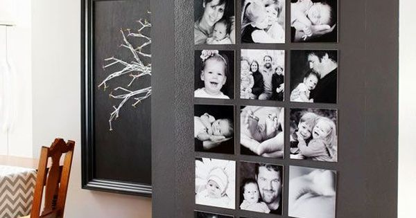 DIY home decorating ideas - Arrange black and white pictures on a