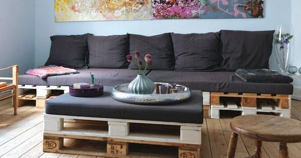 m bel aus holz europaletten sofa couchtisch polsterung kissen paletten pinterest furniture. Black Bedroom Furniture Sets. Home Design Ideas