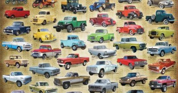 """History Of American Pickup Trucks Evolution Poster 24/"""" x 36/"""" Free Shipping NEW"""