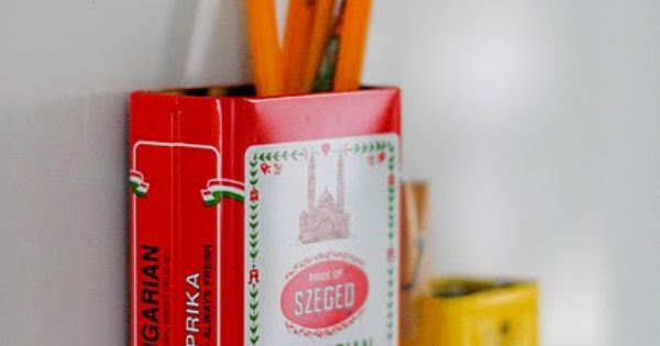 Try a cute pencil holder from old spice tins turned into magnets