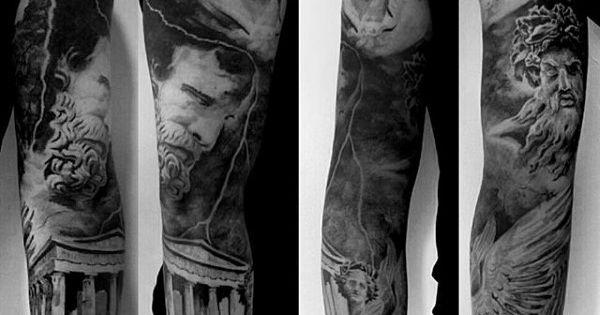 Tattoo Design Bild: Greek Building With Gods Mens Unique Sleeve Tattoos