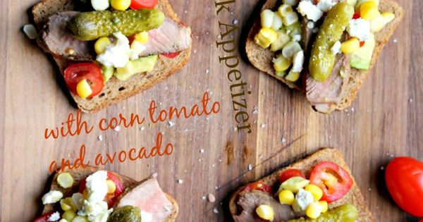 Grilled Sirloin Steak with Corn Tomato and Avocado Appetizer # ...
