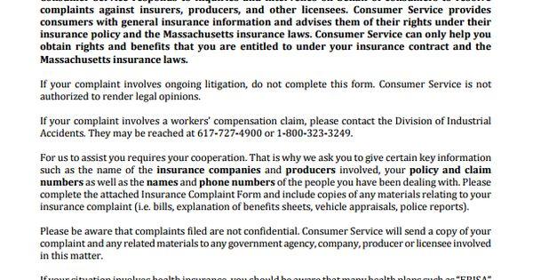 Massachusetts Insurance Commissioner Complaint Business