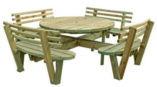 Swedish Redwood Circular Picnic Bench With Backrests Picnic Table Plans Octagon Picnic Table Wooden Picnic Tables